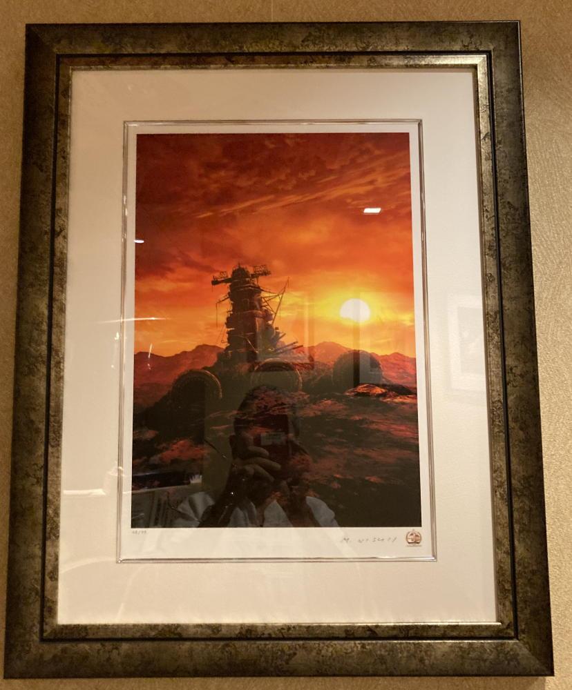 三宅漢方医院診察室の絵「夕日のヤマト」